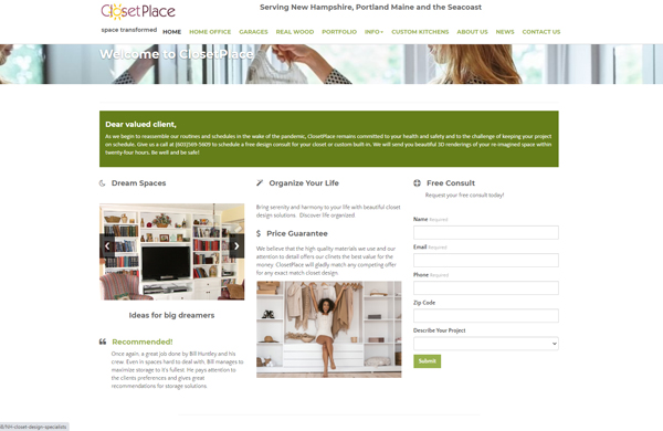 closetplace llc cms enabled website designed by pcs web design