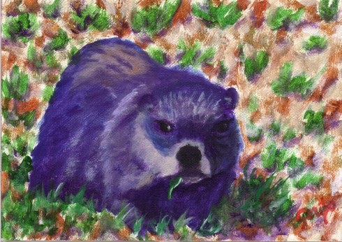 Groundhog with a Mouthful - Painting by artist DJ Geribo