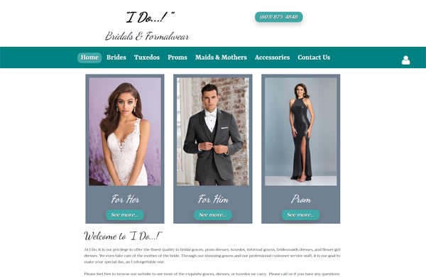 i do bridals and formalwear cms enabled website designed by pcs web design