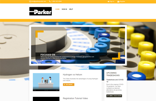 parker hannifin distributor portal cms enabled website designed by pcs web design