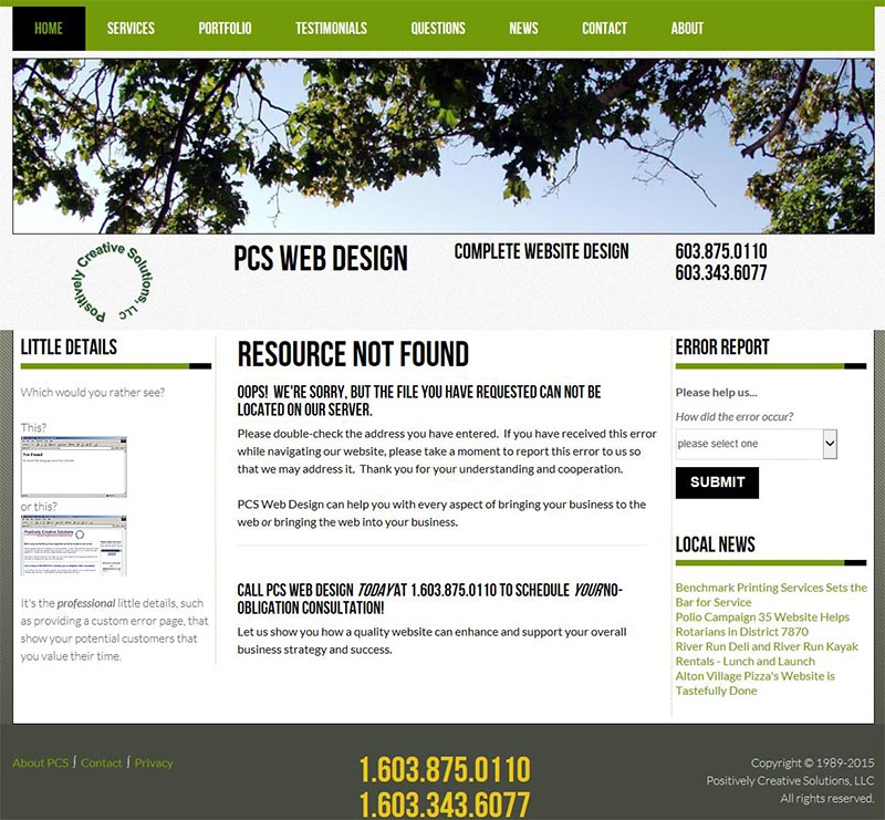 pcs web design custom error page design