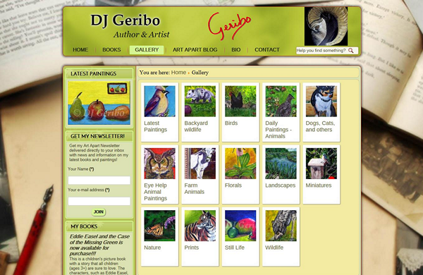 author and artist dj geribo cms enabled website designed by pcs web design web