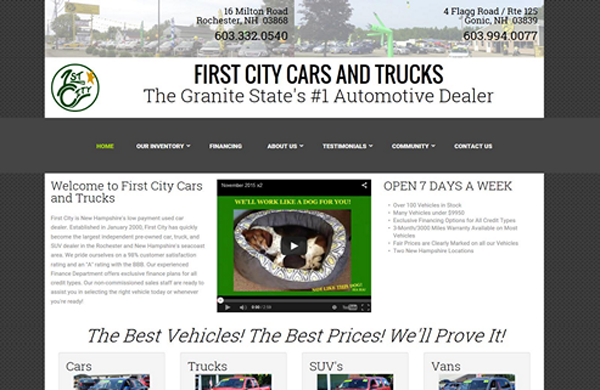 first city cars and trucks cms enabled website designed by pcs web design web