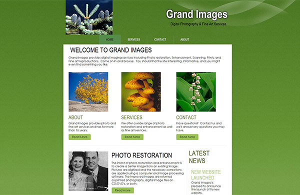 grand images cms enabled ecommerce website designed by pcs web design web