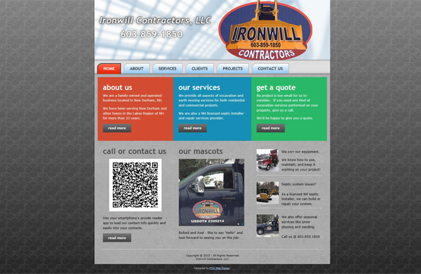 ironwill contractors basic business website designed by pcs web design web