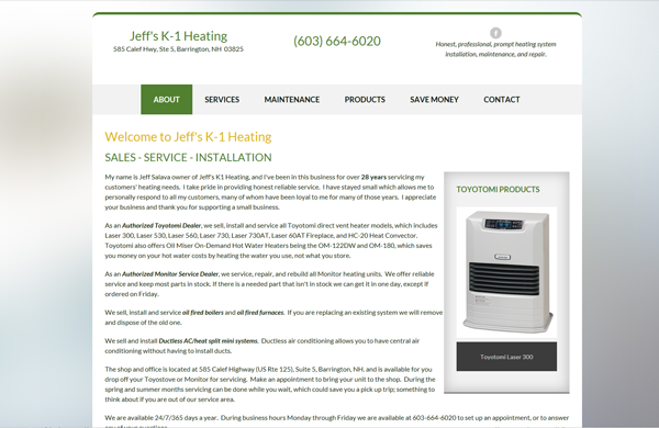 jeffs k1 heating cms enabled website designed by pcs web design