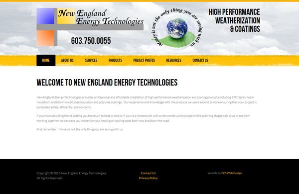 new england energy technologies cms enabled website designed by pcs web design