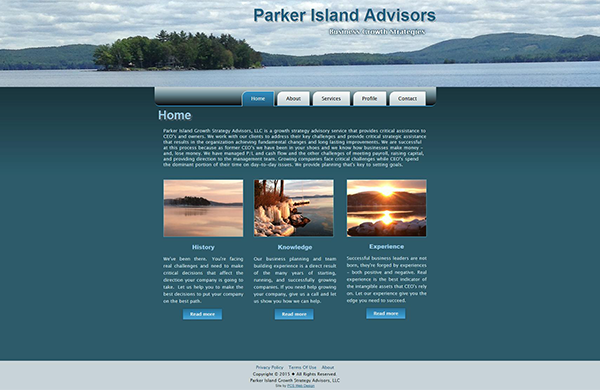 parker island advisors cms enabled website designed by pcs web design web