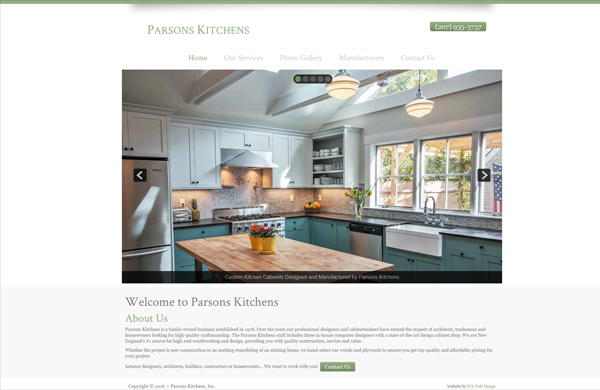 parsons kitchens cms enabled website designed by pcs web design