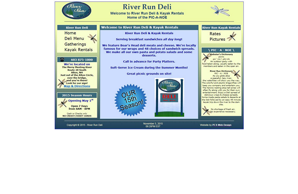 river run deli and kayak rentals basic website designed by pcs web design web