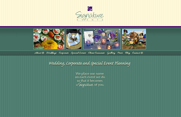 signature events cms enabled website designed by pcs web design web