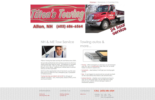tiltons towing basic business website designed by pcs web design