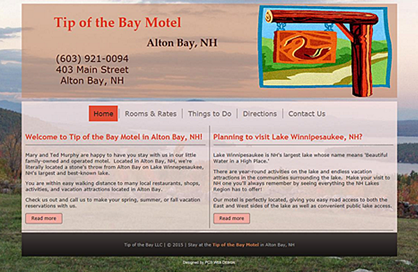 tip of the bay motel basic website designed by pcs web design web