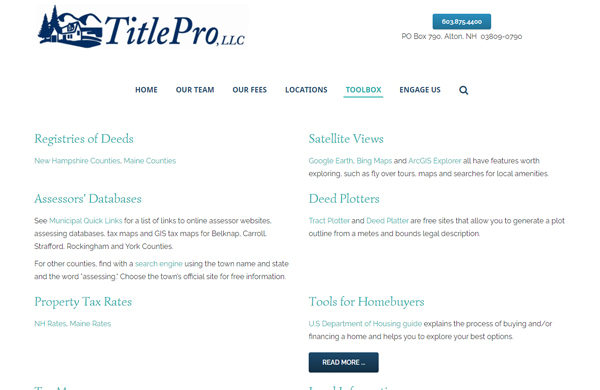 title pro llc cms enabled website designed by pcs web design