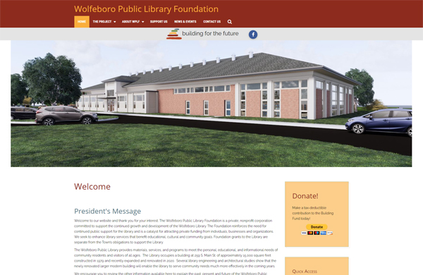 wolfeboro public library foundation cms enabled website designed by pcs web design